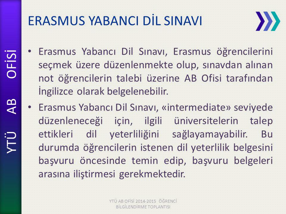 YTÜ AB OFİSİ ERASMUS YABANCI DİL SINAVI Erasmus Yabancı Dil Sınavı, Erasmus öğrencilerini seçmek üzere düzenlenmekte olup, sınavdan alınan not öğrenci