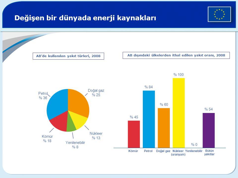 Değişen bir dünyada enerji kaynakları AB'de kullanılan yakıt türleri, 2008 Petrol % 36 Doğal gaz % 25 Nükleer % 13 Kömür % 18 Yenilenebilir % 8 % 45 %
