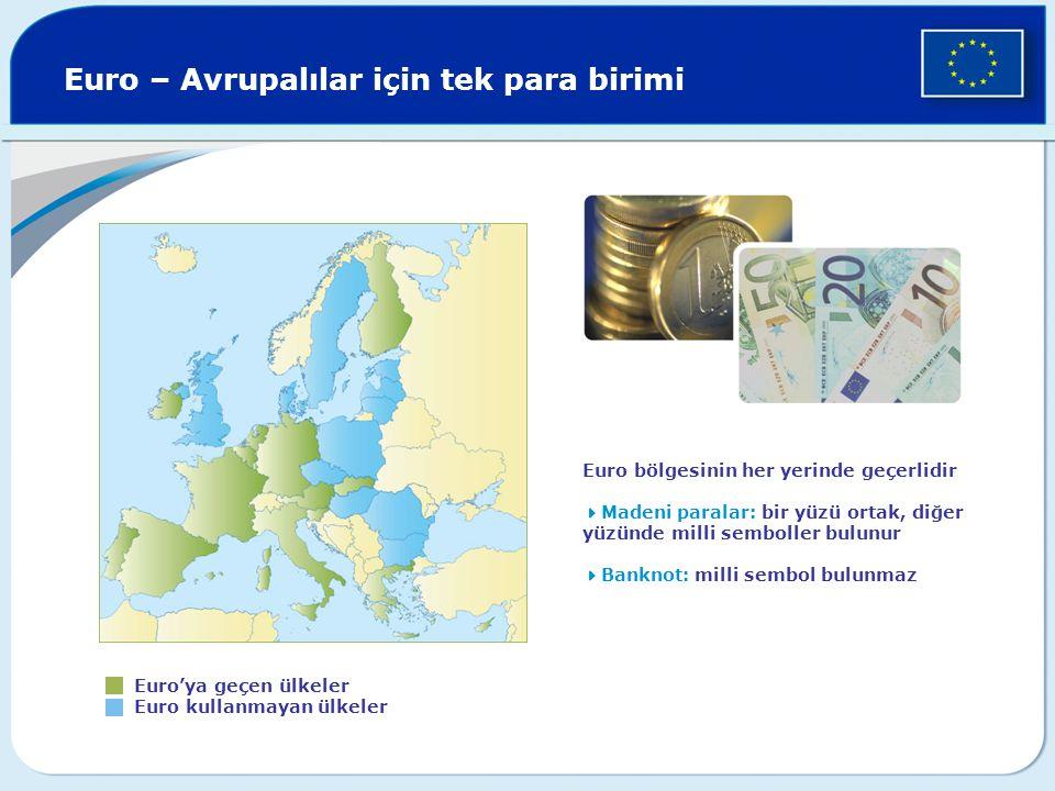 Euro – Avrupalılar için tek para birimi Euro'ya geçen ülkeler Euro kullanmayan ülkeler Euro bölgesinin her yerinde geçerlidir  Madeni paralar: bir yü