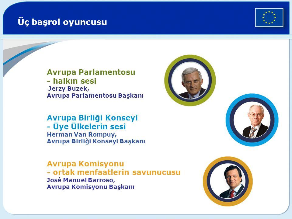 Üç başrol oyuncusu Avrupa Parlamentosu - halkın sesi Jerzy Buzek, Avrupa Parlamentosu Başkanı Avrupa Birliği Konseyi - Üye Ülkelerin sesi Herman Van R