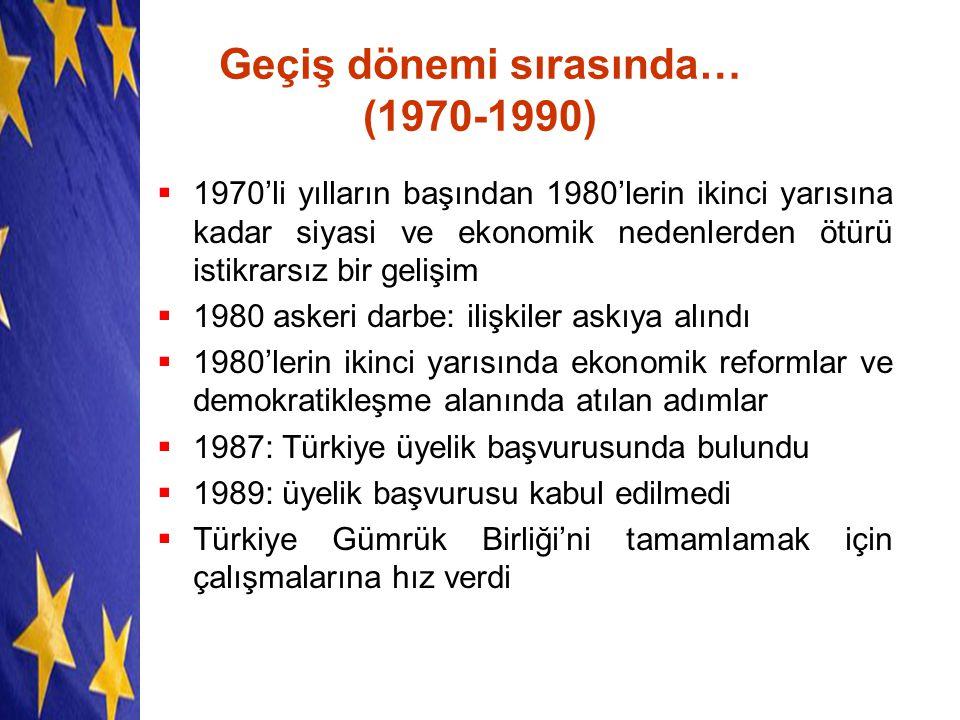 Geçiş dönemi sırasında… (1970-1990)  1970'li yılların başından 1980'lerin ikinci yarısına kadar siyasi ve ekonomik nedenlerden ötürü istikrarsız bir