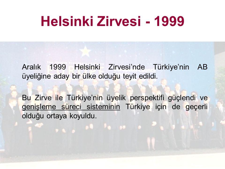 Helsinki Zirvesi - 1999 Aralık 1999 Helsinki Zirvesi'nde Türkiye'nin AB üyeliğine aday bir ülke olduğu teyit edildi. Bu Zirve ile Türkiye'nin üyelik p