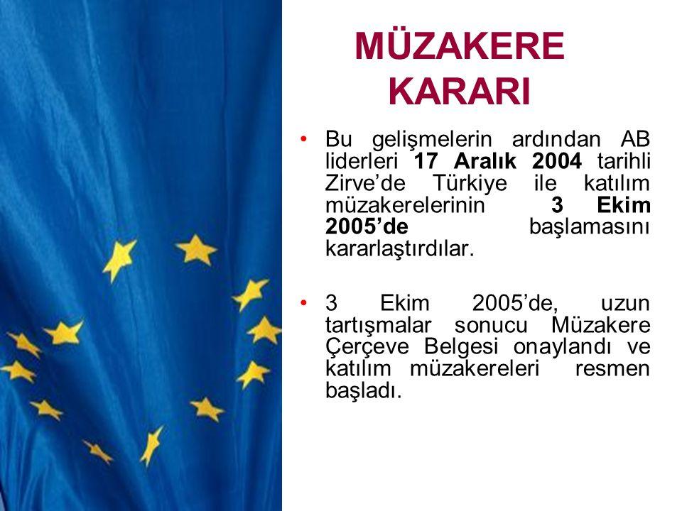 MÜZAKERE KARARI Bu gelişmelerin ardından AB liderleri 17 Aralık 2004 tarihli Zirve'de Türkiye ile katılım müzakerelerinin 3 Ekim 2005'de başlamasını k