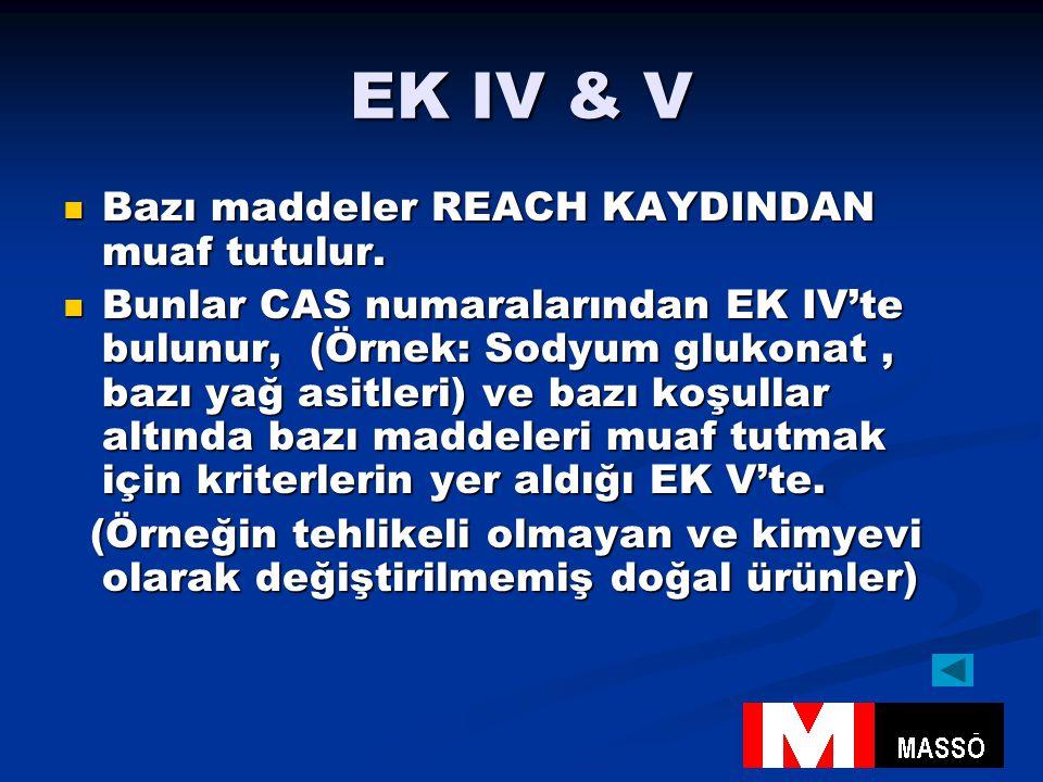 EK IV & V Bazı maddeler REACH KAYDINDAN muaf tutulur.