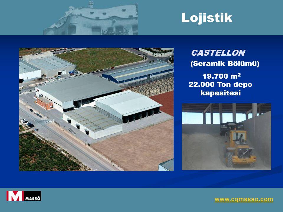 CASTELLON (Seramik Bölümü) 19.700 m 2 22.000 Ton depo kapasitesi Lojistik www.cqmasso.com