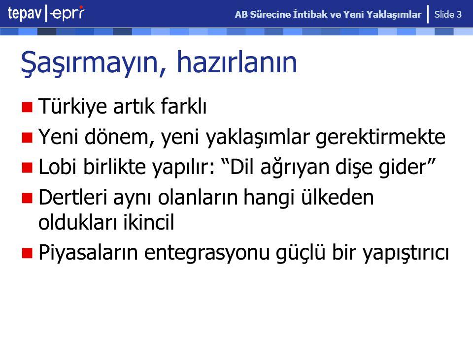 AB Sürecine İntibak ve Yeni Yaklaşımlar Slide 3 Şaşırmayın, hazırlanın Türkiye artık farklı Yeni dönem, yeni yaklaşımlar gerektirmekte Lobi birlikte y
