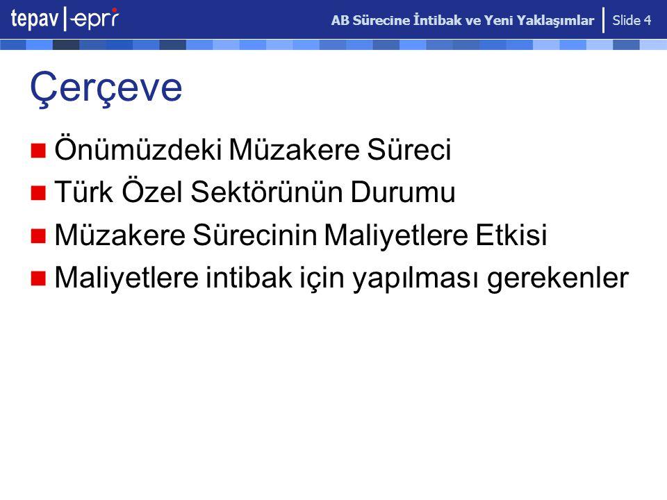 AB Sürecine İntibak ve Yeni Yaklaşımlar Slide 4 Çerçeve Önümüzdeki Müzakere Süreci Türk Özel Sektörünün Durumu Müzakere Sürecinin Maliyetlere Etkisi M