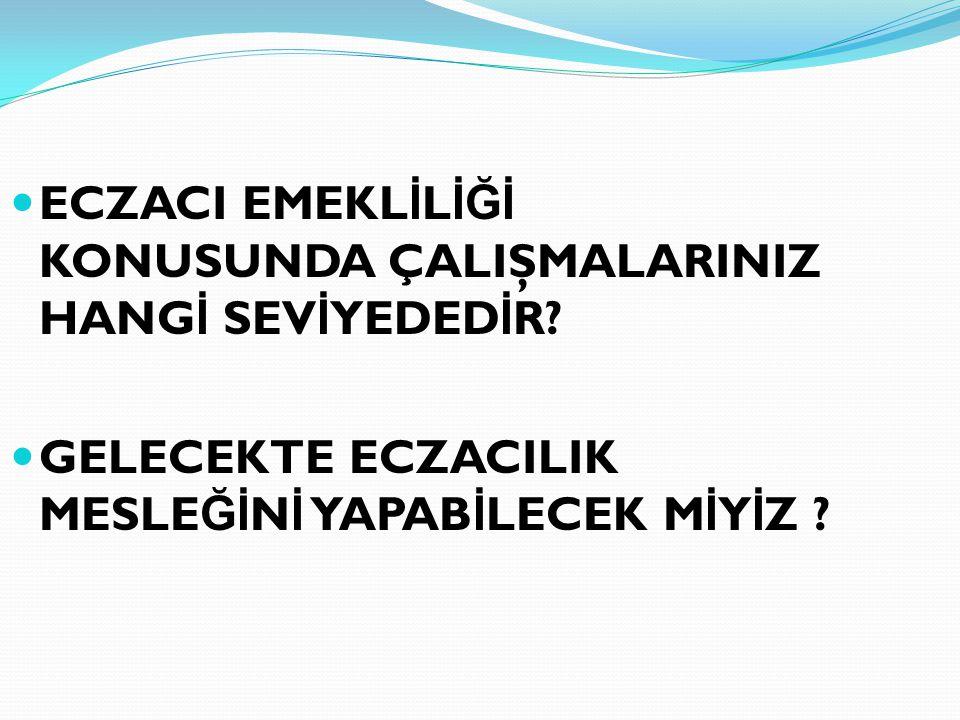 ECZACI EMEKL İ L İĞİ KONUSUNDA ÇALIŞMALARINIZ HANG İ SEV İ YEDED İ R.