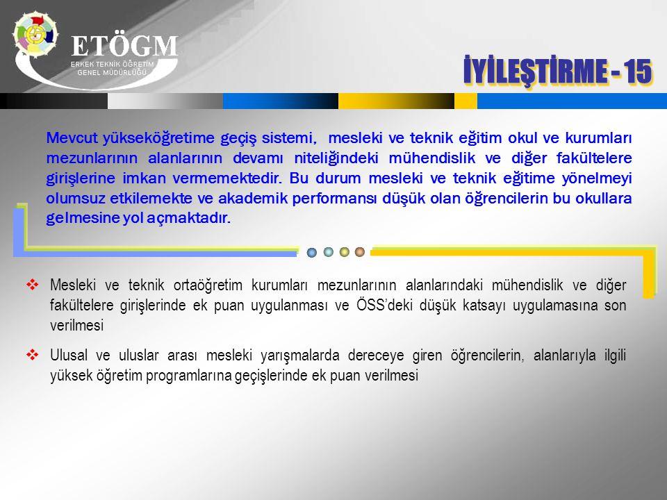 İYİLEŞTİRME - 15 Mevcut yükseköğretime geçiş sistemi, mesleki ve teknik eğitim okul ve kurumları mezunlarının alanlarının devamı niteliğindeki mühendi