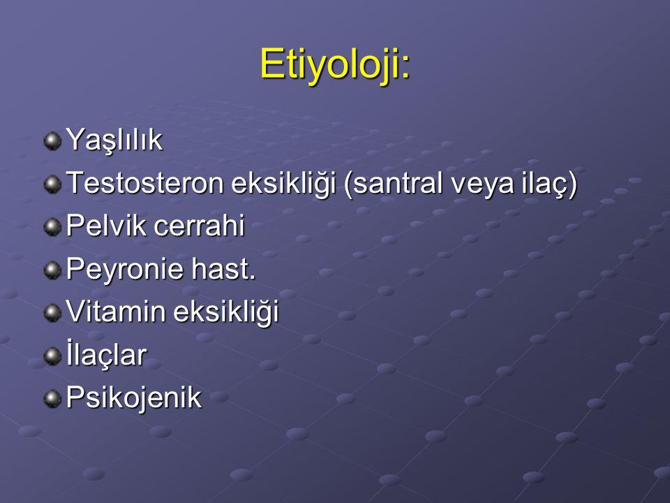 Etiyoloji: Yaşlılık Testosteron eksikliği (santral veya ilaç) Pelvik cerrahi Peyronie hast. Vitamin eksikliği İlaçlarPsikojenik