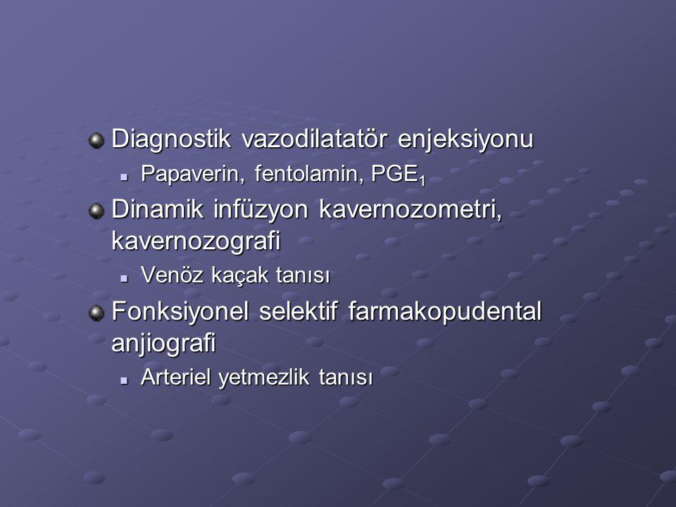 Diagnostik vazodilatatör enjeksiyonu Papaverin, fentolamin, PGE 1 Papaverin, fentolamin, PGE 1 Dinamik infüzyon kavernozometri, kavernozografi Venöz k