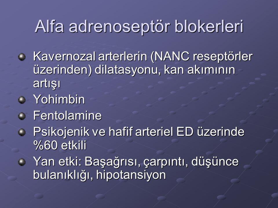 Alfa adrenoseptör blokerleri Kavernozal arterlerin (NANC reseptörler üzerinden) dilatasyonu, kan akımının artışı YohimbinFentolamine Psikojenik ve haf