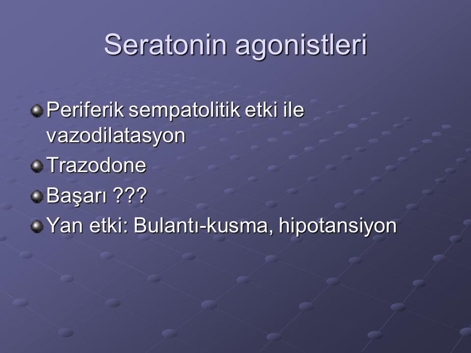Seratonin agonistleri Periferik sempatolitik etki ile vazodilatasyon Trazodone Başarı ??? Yan etki: Bulantı-kusma, hipotansiyon