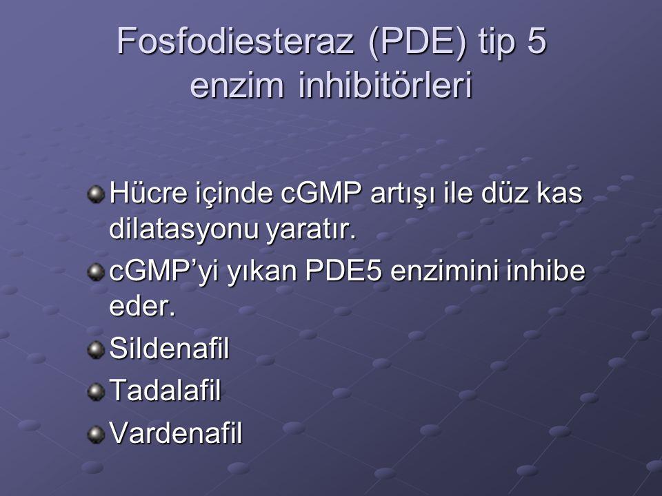 Fosfodiesteraz (PDE) tip 5 enzim inhibitörleri Hücre içinde cGMP artışı ile düz kas dilatasyonu yaratır. cGMP'yi yıkan PDE5 enzimini inhibe eder. Sild