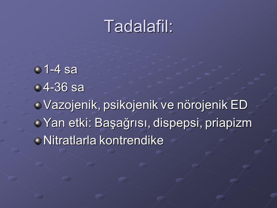Tadalafil: 1-4 sa 4-36 sa Vazojenik, psikojenik ve nörojenik ED Yan etki: Başağrısı, dispepsi, priapizm Nitratlarla kontrendike