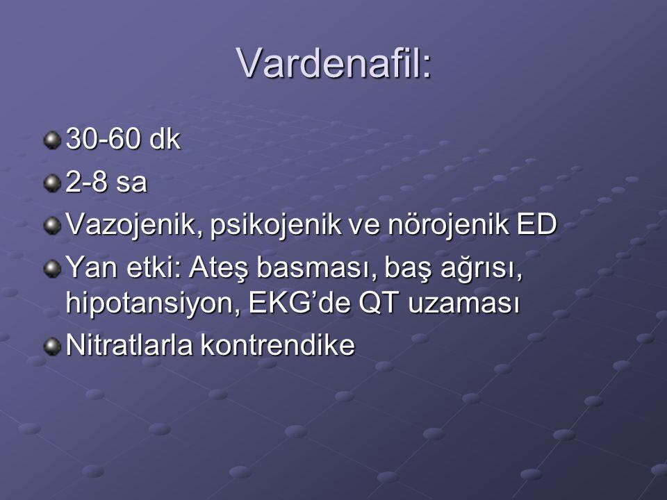 Vardenafil: 30-60 dk 2-8 sa Vazojenik, psikojenik ve nörojenik ED Yan etki: Ateş basması, baş ağrısı, hipotansiyon, EKG'de QT uzaması Nitratlarla kont