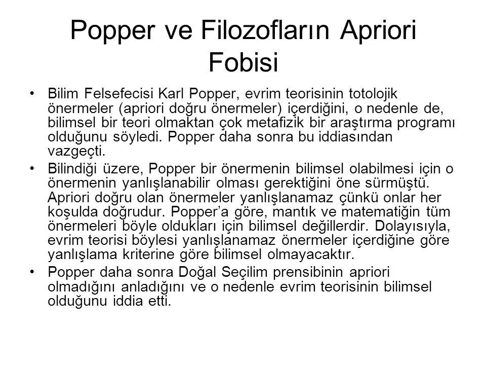 Popper ve Filozofların Apriori Fobisi Bilim Felsefecisi Karl Popper, evrim teorisinin totolojik önermeler (apriori doğru önermeler) içerdiğini, o nedenle de, bilimsel bir teori olmaktan çok metafizik bir araştırma programı olduğunu söyledi.