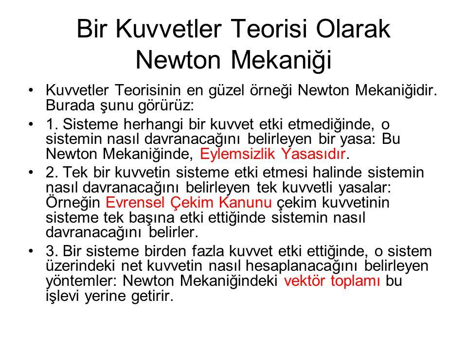 Bir Kuvvetler Teorisi Olarak Newton Mekaniği Kuvvetler Teorisinin en güzel örneği Newton Mekaniğidir.