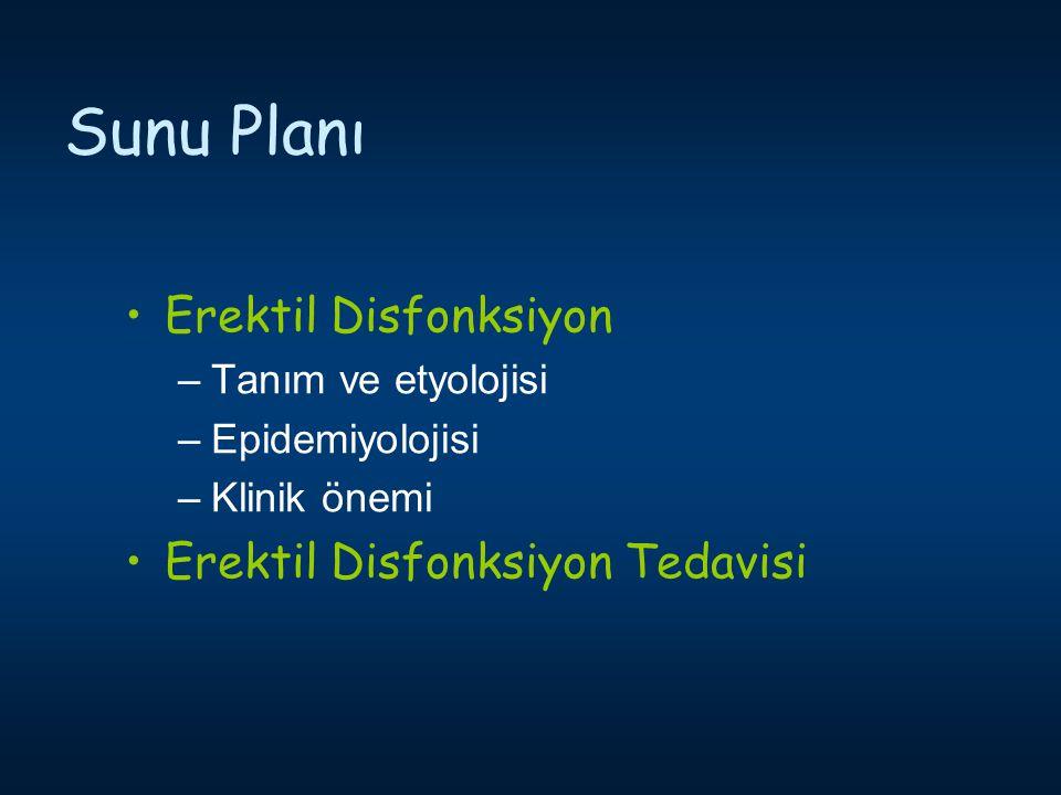 Sunu Planı Erektil Disfonksiyon –Tanım ve etyolojisi –Epidemiyolojisi –Klinik önemi Erektil Disfonksiyon Tedavisi