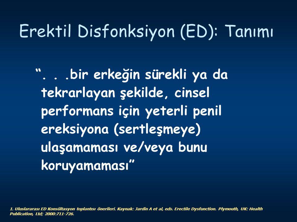"""Erektil Disfonksiyon (ED): Tanımı """"...bir erkeğin sürekli ya da tekrarlayan şekilde, cinsel performans için yeterli penil ereksiyona (sertleşmeye) ula"""