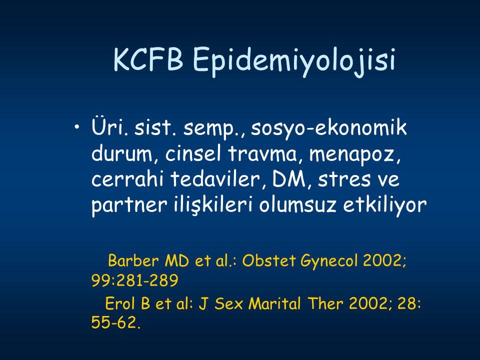 KCFB Epidemiyolojisi Üri. sist. semp., sosyo-ekonomik durum, cinsel travma, menapoz, cerrahi tedaviler, DM, stres ve partner ilişkileri olumsuz etkili