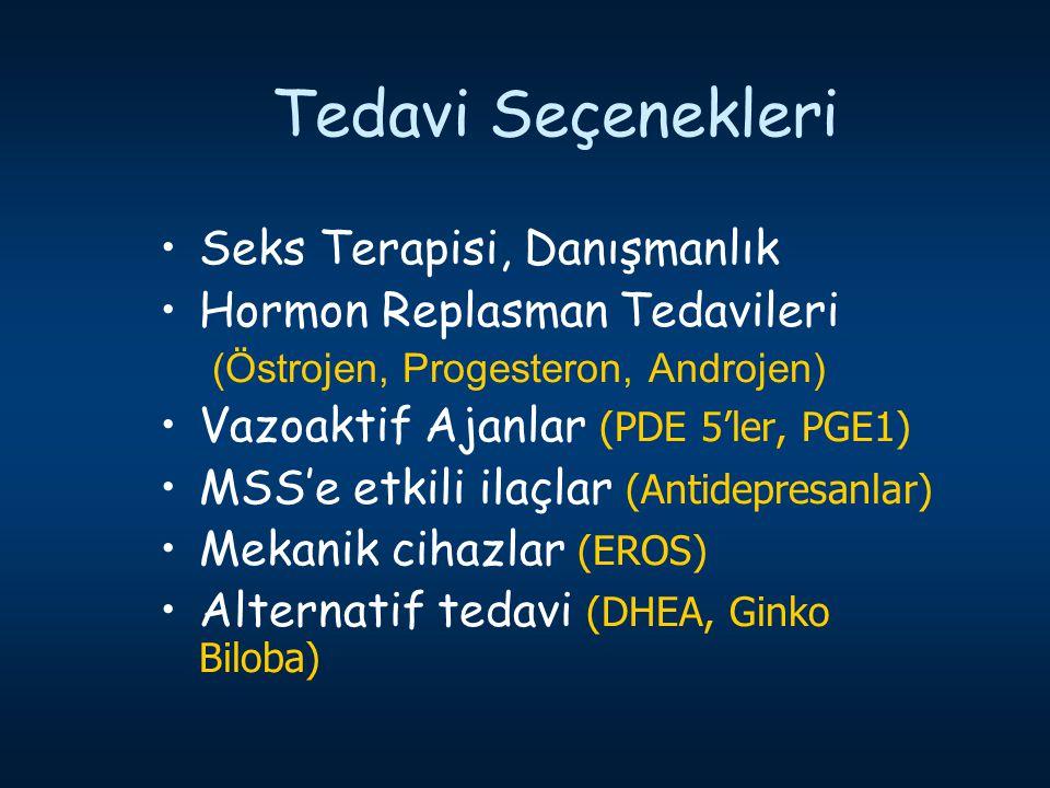 Tedavi Seçenekleri Seks Terapisi, Danışmanlık Hormon Replasman Tedavileri (Östrojen, Progesteron, Androjen) Vazoaktif Ajanlar (PDE 5'ler, PGE1) MSS'e