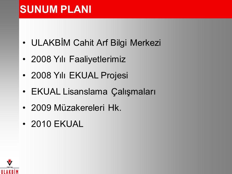 SUNUM PLANI ULAKBİM Cahit Arf Bilgi Merkezi 2008 Yılı Faaliyetlerimiz 2008 Yılı EKUAL Projesi EKUAL Lisanslama Çalışmaları 2009 Müzakereleri Hk.