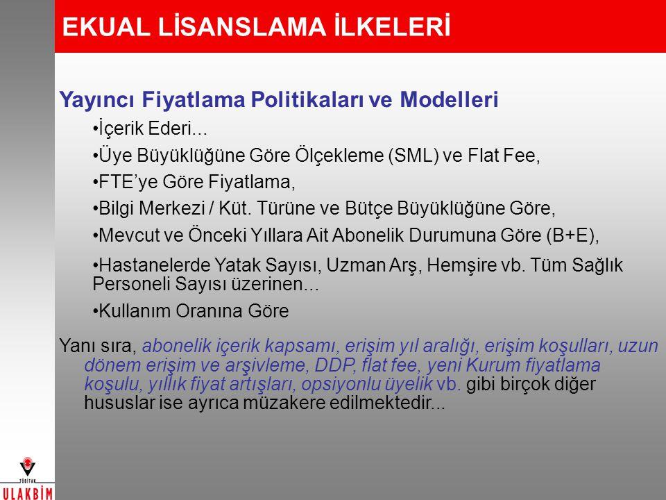 EKUAL LİSANSLAMA İLKELERİ Yayıncı Fiyatlama Politikaları ve Modelleri İçerik Ederi...