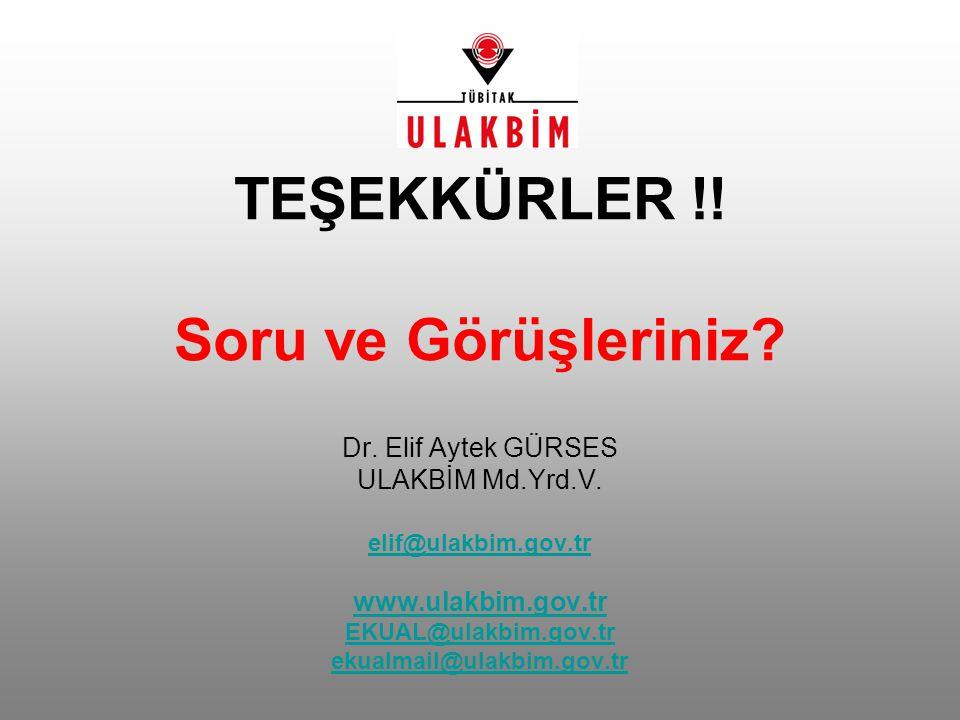 TEŞEKKÜRLER !! Soru ve Görüşleriniz? Dr. Elif Aytek GÜRSES ULAKBİM Md.Yrd.V. elif@ulakbim.gov.tr www.ulakbim.gov.tr EKUAL@ulakbim.gov.tr ekualmail@ula