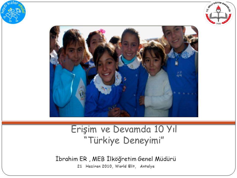 Erişim ve Devamda 10 Yıl Türkiye Deneyimi İbrahim ER, MEB İlköğretim Genel Müdürü 21 Haziran 2010, World Elit, Antalya
