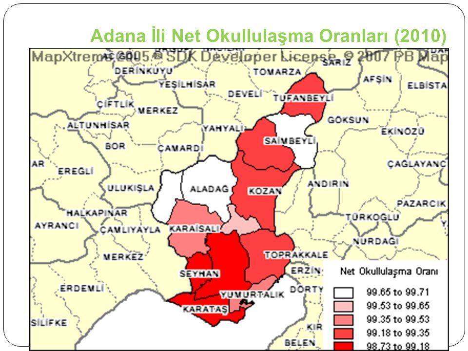 Adana İli Net Okullulaşma Oranları (2010)