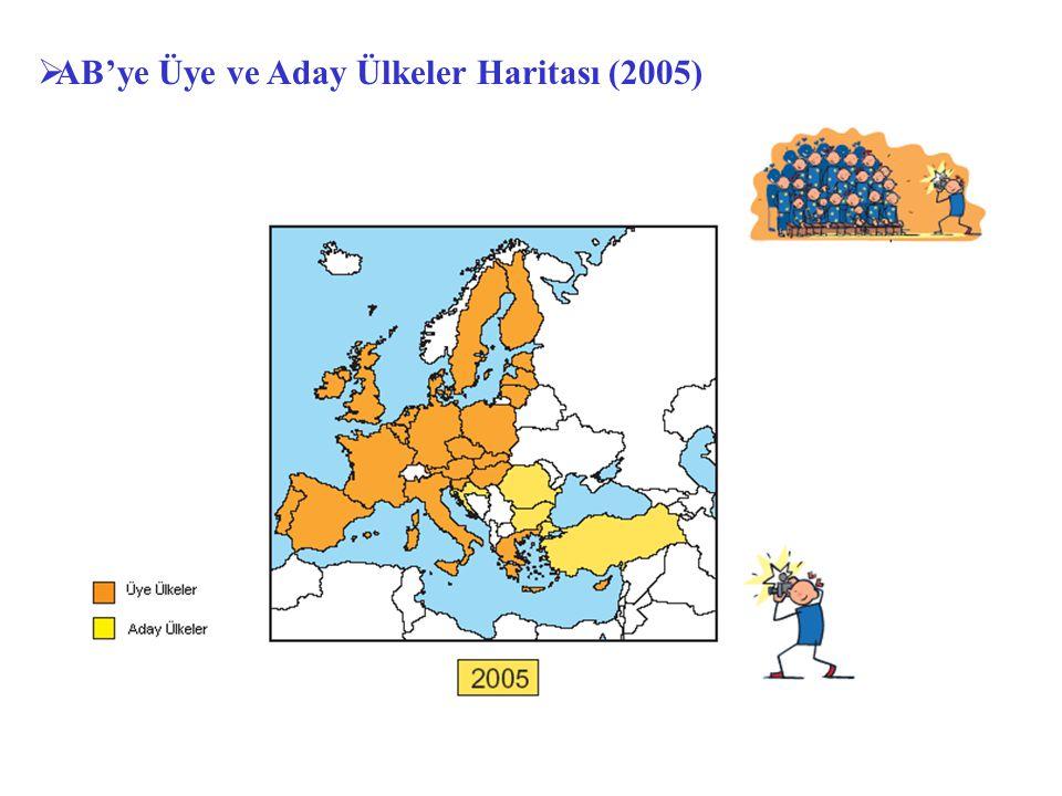  AB'ye Üye ve Aday Ülkeler Haritası (2005)