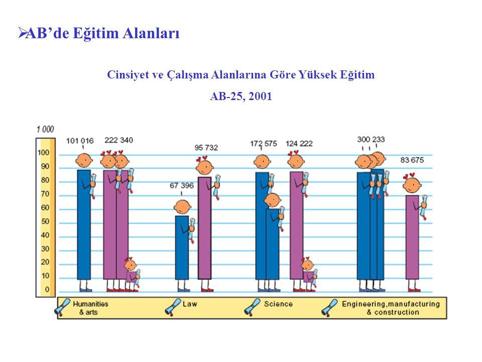  AB'de Eğitim Alanları Cinsiyet ve Çalışma Alanlarına Göre Yüksek Eğitim AB-25, 2001