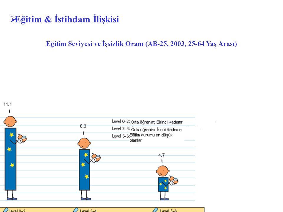  Eğitim & İstihdam İlişkisi Eğitim Seviyesi ve İşsizlik Oranı (AB-25, 2003, 25-64 Yaş Arası)