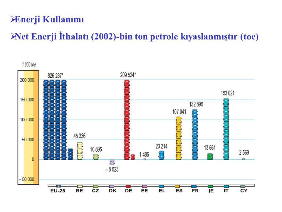  Enerji Kullanımı  Net Enerji İthalatı (2002)-bin ton petrole kıyaslanmıştır (toe)