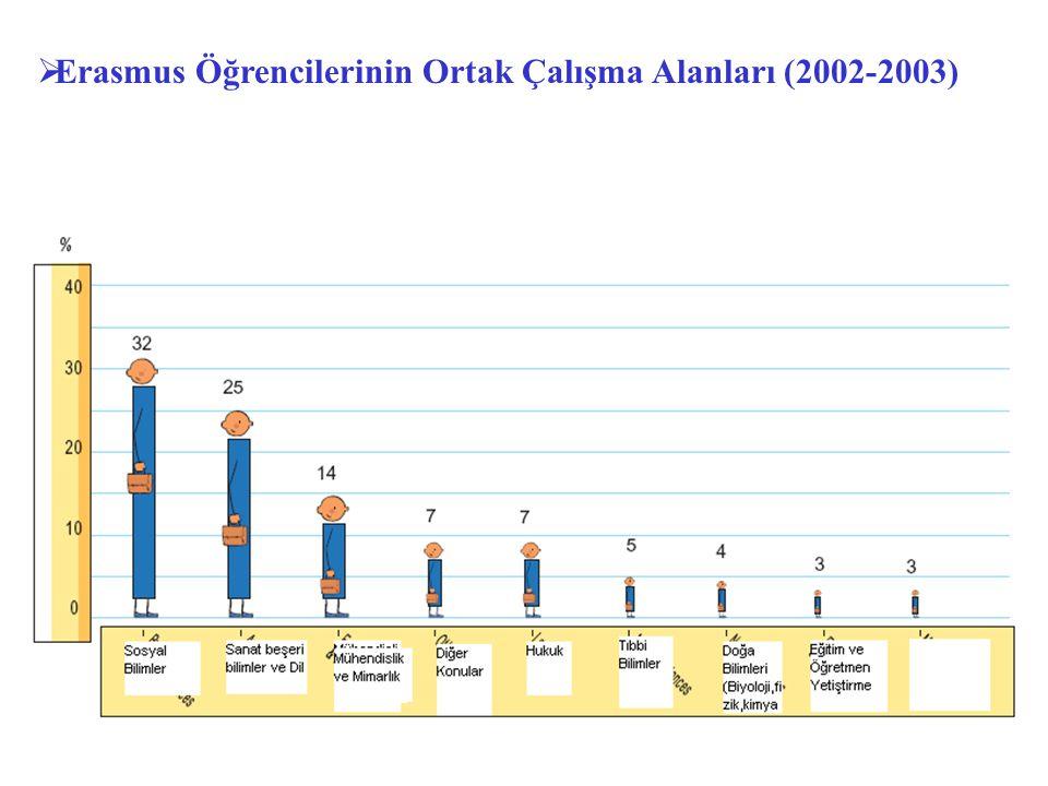  Erasmus Öğrencilerinin Ortak Çalışma Alanları (2002-2003)