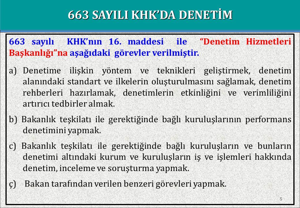 Denetim Hizmetleri Başkanlığı 663 sayılı KHK ile Sağlık Bakanlığı'nın yeniden yapılandırılması çerçevesinde Denetim Hizmetleri Başkanlığı nın yanısıra; Sağlık Kurum ve Kuruluşları Denetim ve Değerlendirme Daire Başkanlığı ,  Sağlık Hizmetleri Genel Müdürlüğünde; Sağlık Kurum ve Kuruluşları Denetim ve Değerlendirme Daire Başkanlığı , Denetim Hizmetleri Daire Başkanlıkları ,  Türkiye Halk Sağlığı Kurumu,Türkiye Kamu Hastaneleri Kurumu ve Türkiye İlaç ve Tıbbi Cihaz Kurumunda Denetim Hizmetleri Daire Başkanlıkları , Denetim Birimi ,  Türkiye Hudut ve Sahiller Sağlık Genel Müdürlüğü'nde Denetim Birimi , Oluşturulmuştur.