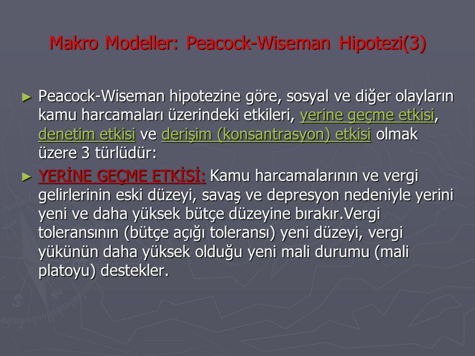 Makro Modeller: Peacock-Wiseman Hipotezi(3) ► Peacock-Wiseman hipotezine göre, sosyal ve diğer olayların kamu harcamaları üzerindeki etkileri, yerine