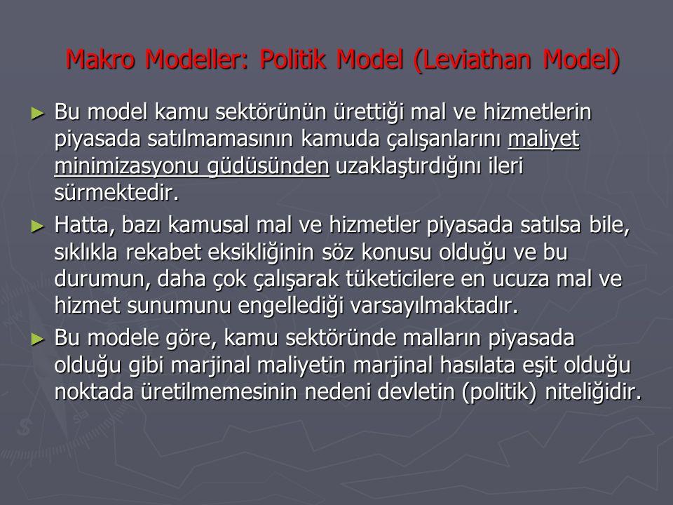 Makro Modeller: Politik Model (Leviathan Model) ► Bu model kamu sektörünün ürettiği mal ve hizmetlerin piyasada satılmamasının kamuda çalışanlarını ma