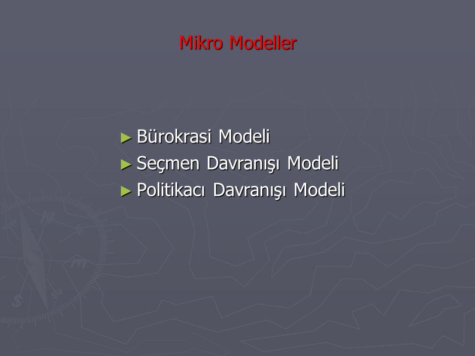 Mikro Modeller ► Bürokrasi Modeli ► Seçmen Davranışı Modeli ► Politikacı Davranışı Modeli