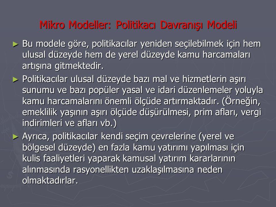 Mikro Modeller: Politikacı Davranışı Modeli ► Bu modele göre, politikacılar yeniden seçilebilmek için hem ulusal düzeyde hem de yerel düzeyde kamu har