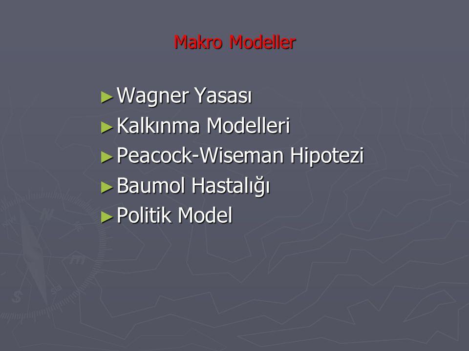 Makro Modeller ► Wagner Yasası ► Kalkınma Modelleri ► Peacock-Wiseman Hipotezi ► Baumol Hastalığı ► Politik Model