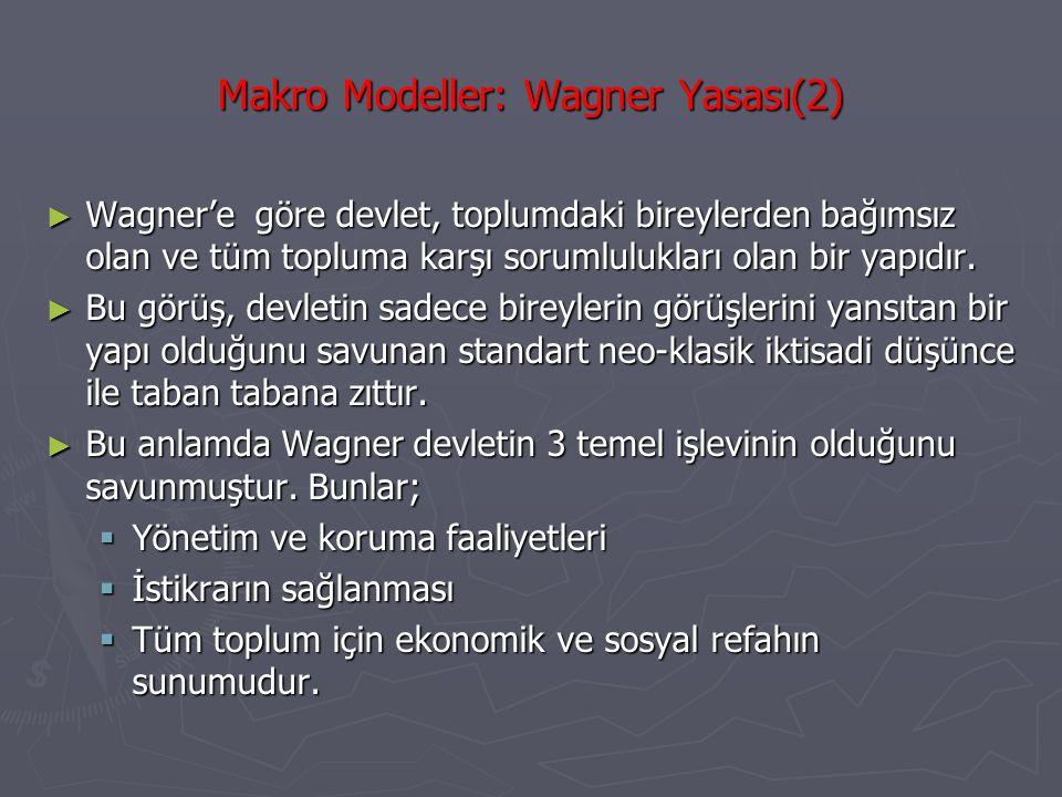 Makro Modeller: Wagner Yasası(2) ► Wagner'e göre devlet, toplumdaki bireylerden bağımsız olan ve tüm topluma karşı sorumlulukları olan bir yapıdır. ►