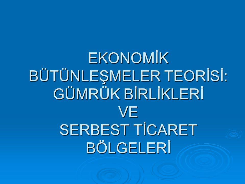 Anahtar kelimeler:  Ekonomik bütünleşme,  Serbest ticaret bölgesi,  gümrük birliği,  ortak pazar,  ekonomik birlik,  gümrük birliğinin ekonomik etkileri,  ikinci en iyi teorisi,  kutuplaşma teorisi.