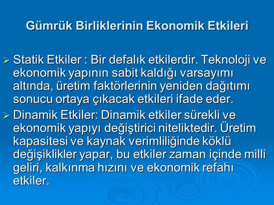 Gümrük Birliklerinin Ekonomik Etkileri  Statik Etkiler : Bir defalık etkilerdir.