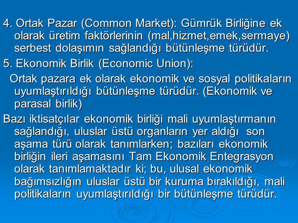 4. Ortak Pazar (Common Market): Gümrük Birliğine ek olarak üretim faktörlerinin (mal,hizmet,emek,sermaye) serbest dolaşımın sağlandığı bütünleşme türü