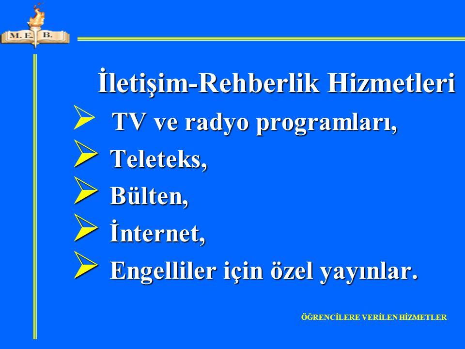 İletişim-Rehberlik Hizmetleri İletişim-Rehberlik Hizmetleri TV ve radyo programları,  TV ve radyo programları,  Teleteks,  Bülten,  İnternet,  En