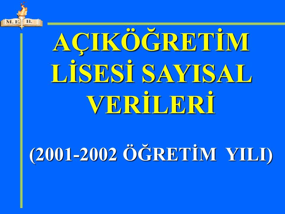 AÇIKÖĞRETİM LİSESİ SAYISAL VERİLERİ (2001-2002 ÖĞRETİM YILI)