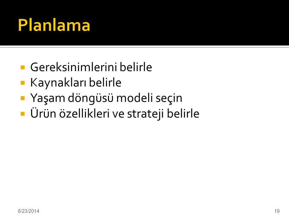  Gereksinimlerini belirle  Kaynakları belirle  Yaşam döngüsü modeli seçin  Ürün özellikleri ve strateji belirle 8/23/201419