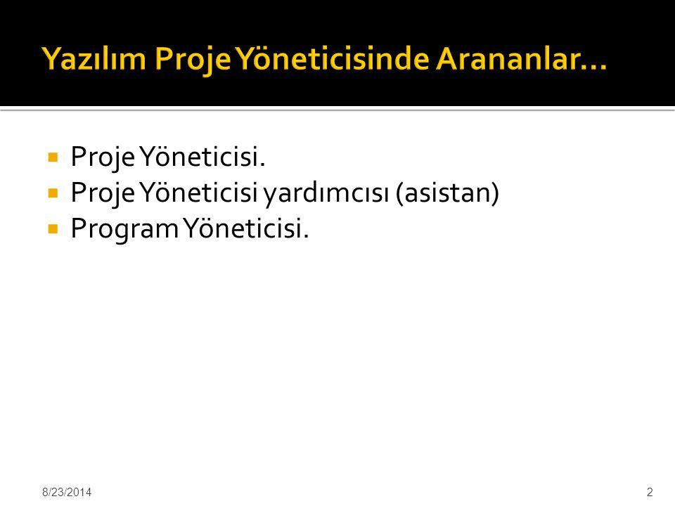  Proje Yöneticisi.  Proje Yöneticisi yardımcısı (asistan)  Program Yöneticisi. 8/23/20142
